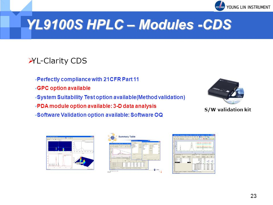 23 YL9100S HPLC – Modules -CDS YL-Clarity CDS Perfectly compliance with 21CFR Part 11 GPC option available System Suitability Test option available(Method validation) PDA module option available: 3-D data analysis Software Validation option available: Software OQ S/W validation kit