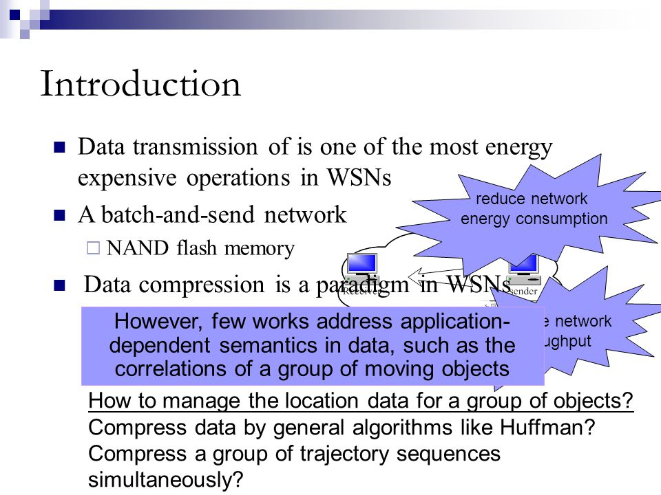 Introduction Data transmission of is one of the most energy expensive operations in WSNs A batch-and-send network NAND flash memory reduce network ene
