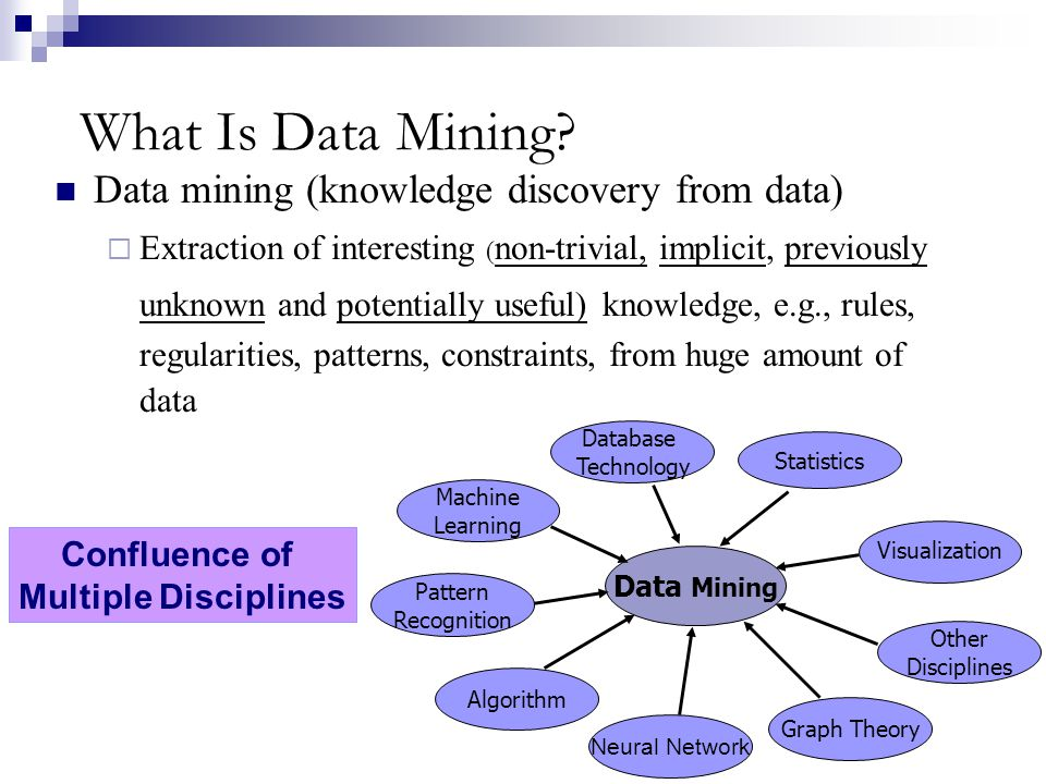 What Is Data Mining? Data mining (knowledge discovery from data) Extraction of interesting ( non-trivial, implicit, previously unknown and potentially