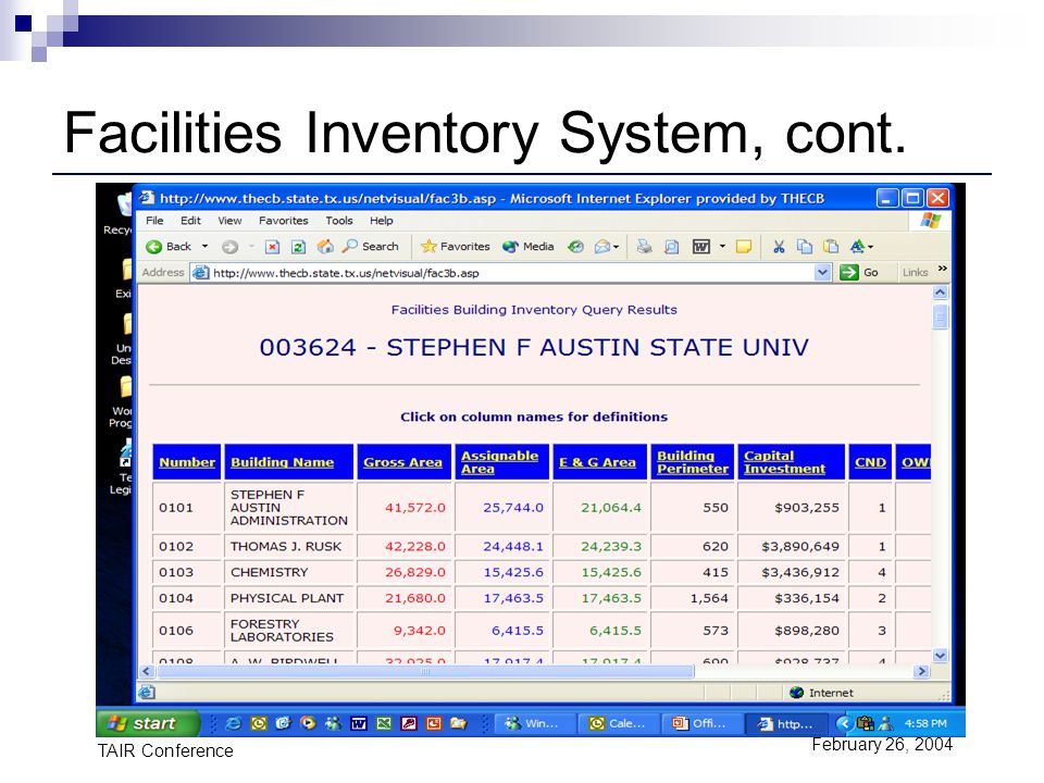 TAIR Conference February 26, 2004 Facilities Inventory System, cont.