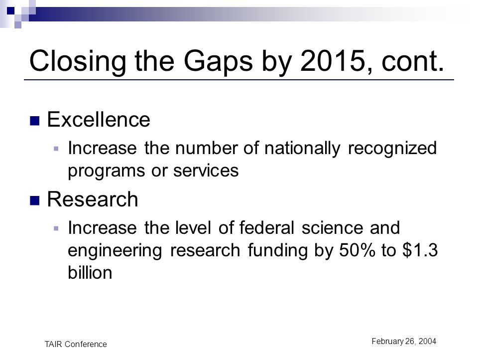 TAIR Conference February 26, 2004 Closing the Gaps by 2015, cont.