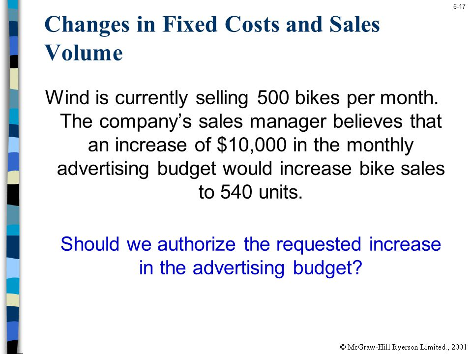 6-17 Changes in Fixed Costs and Sales Volume Wind is currently selling 500 bikes per month. The companys sales manager believes that an increase of $1