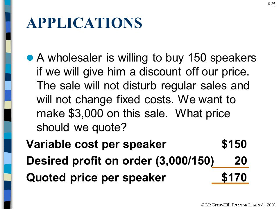 6-25 APPLICATIONS A wholesaler is willing to buy 150 speakers if we will give him a discount off our price. The sale will not disturb regular sales an