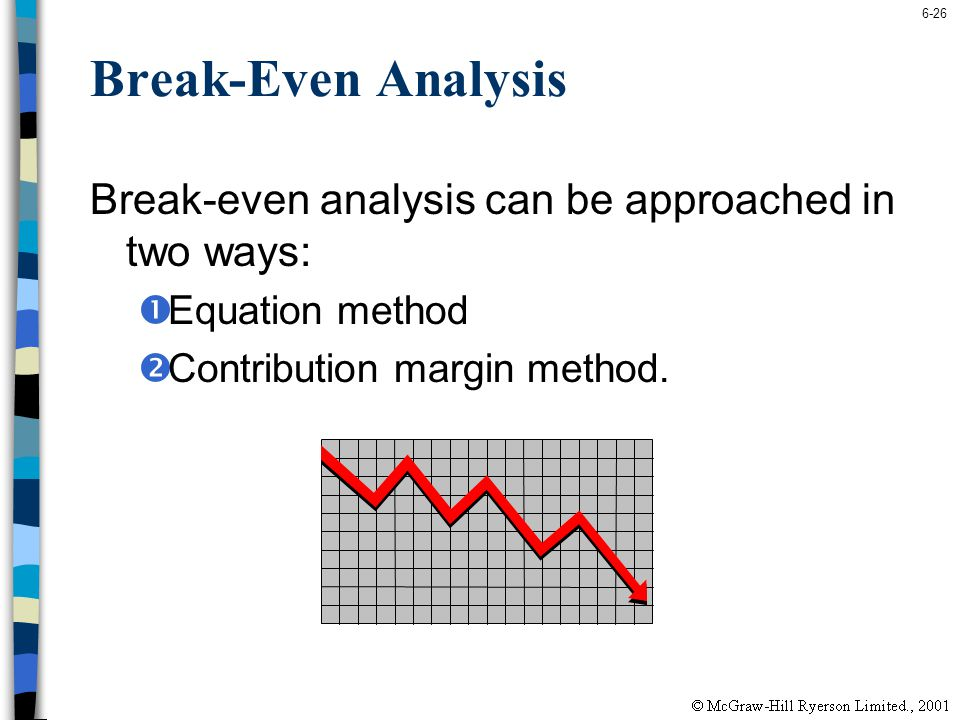 6-26 Break-Even Analysis Break-even analysis can be approached in two ways: Equation method Contribution margin method.