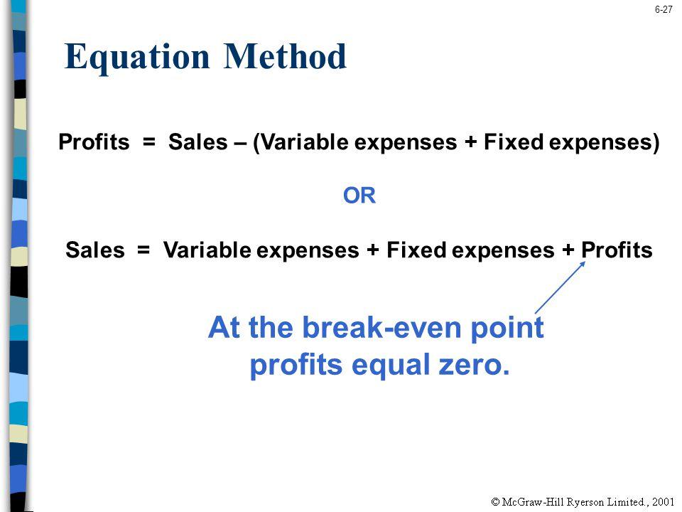 6-27 Equation Method Profits = Sales – (Variable expenses + Fixed expenses) Sales = Variable expenses + Fixed expenses + Profits OR At the break-even