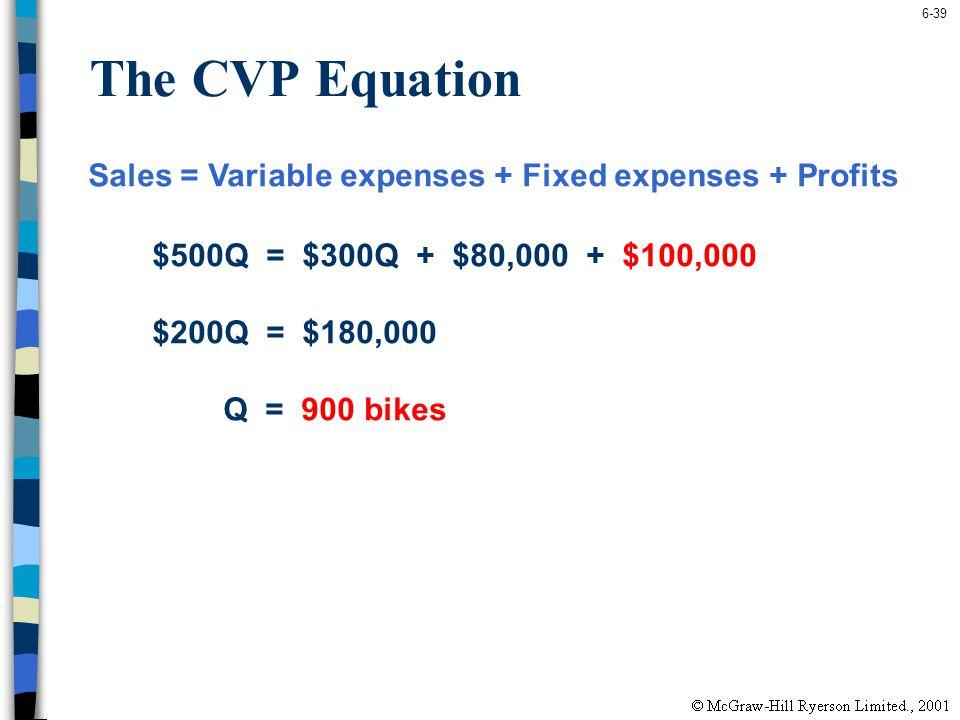6-39 The CVP Equation Sales = Variable expenses + Fixed expenses + Profits $500Q = $300Q + $80,000 + $100,000 $200Q = $180,000 Q = 900 bikes