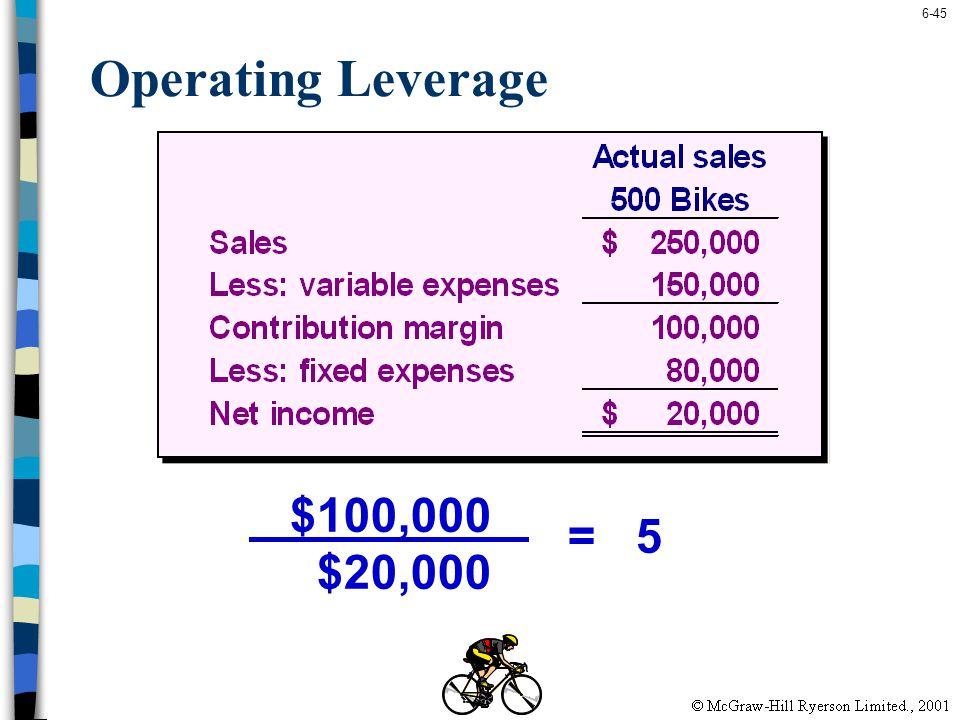 6-45 Operating Leverage $100,000 $20,000 = 5
