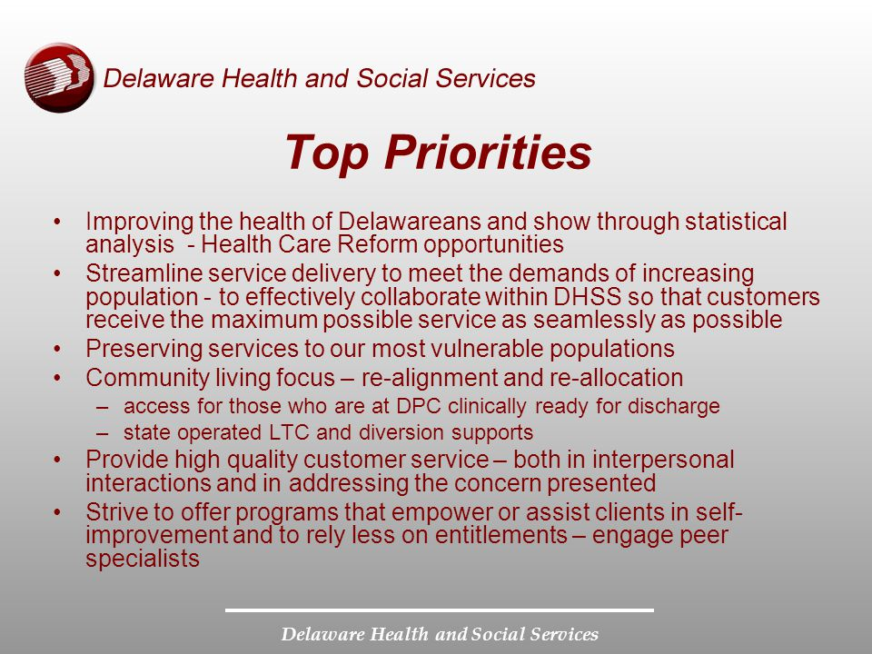 Delaware Health and Social Services Top Priorities Improving the health of Delawareans and show through statistical analysis - Health Care Reform opportunities Streamline service delivery to meet the demands of increasing population - to effectively collaborate within DHSS so that customers receive the maximum possible service as seamlessly as possible Preserving services to our most vulnerable populations Community living focus – re-alignment and re-allocation –access for those who are at DPC clinically ready for discharge –state operated LTC and diversion supports Provide high quality customer service – both in interpersonal interactions and in addressing the concern presented Strive to offer programs that empower or assist clients in self- improvement and to rely less on entitlements – engage peer specialists