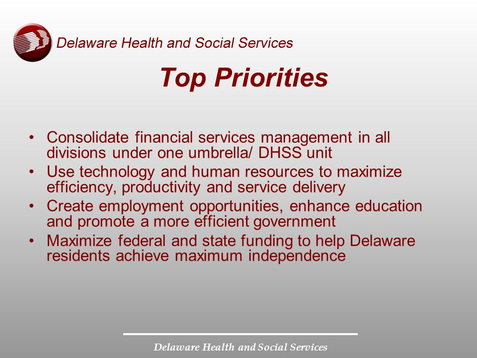 Delaware Health and Social Services Top Priorities Consolidate financial services management in all divisions under one umbrella/ DHSS unit Use technology and human resources to maximize efficiency, productivity and service delivery Create employment opportunities, enhance education and promote a more efficient government Maximize federal and state funding to help Delaware residents achieve maximum independence