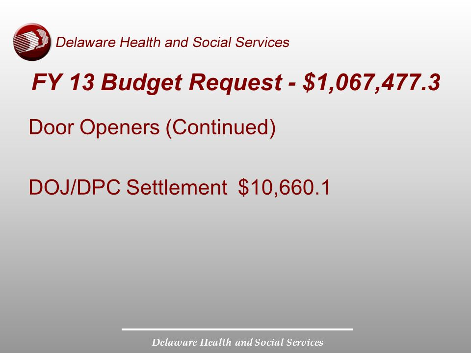 Delaware Health and Social Services FY 13 Budget Request - $1,067,477.3 Door Openers (Continued) DOJ/DPC Settlement $10,660.1