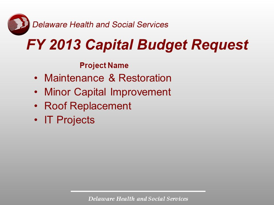 Delaware Health and Social Services FY 2013 Capital Budget Request Project Name Maintenance & Restoration Minor Capital Improvement Roof Replacement I