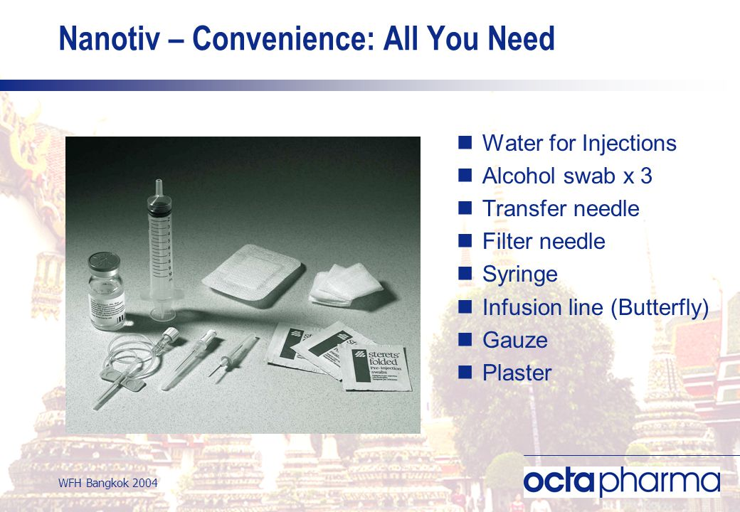 WFH Bangkok 2004 Nanotiv – Convenience: All You Need Water for Injections Alcohol swab x 3 Transfer needle Filter needle Syringe Infusion line (Butterfly) Gauze Plaster