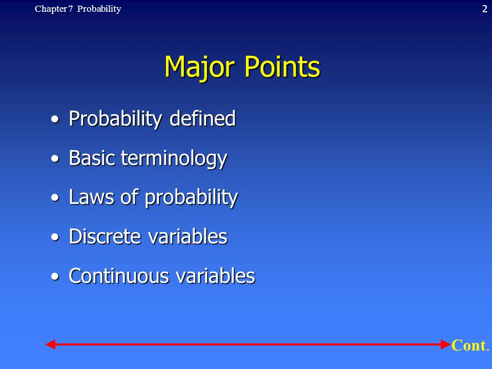 2Chapter 7 Probability Major Points Probability definedProbability defined Basic terminologyBasic terminology Laws of probabilityLaws of probability D