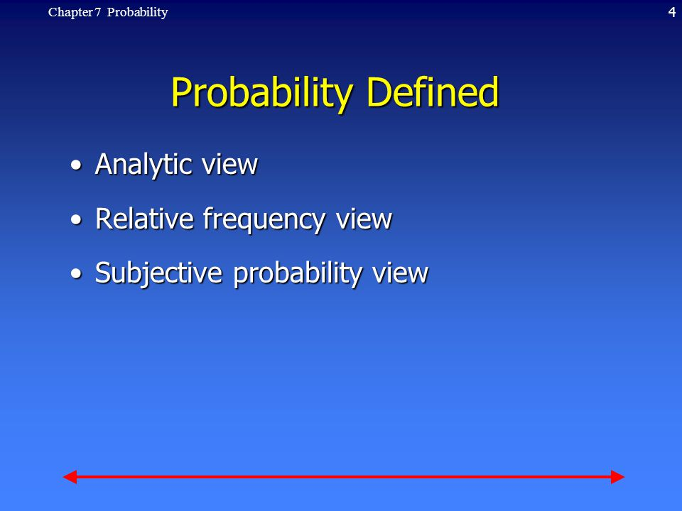 4Chapter 7 Probability Probability Defined Analytic viewAnalytic view Relative frequency viewRelative frequency view Subjective probability viewSubjective probability view