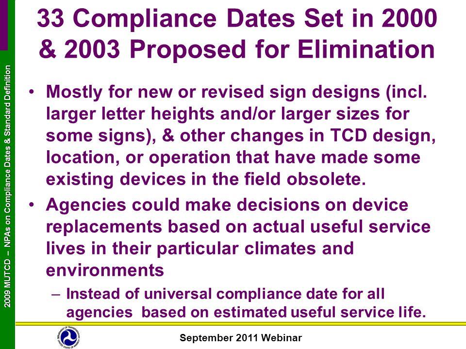 September 2011 Webinar 2009 MUTCD NPAs on Compliance Dates & Standard Definition 2009 MUTCD – NPAs on Compliance Dates & Standard Definition Mostly fo