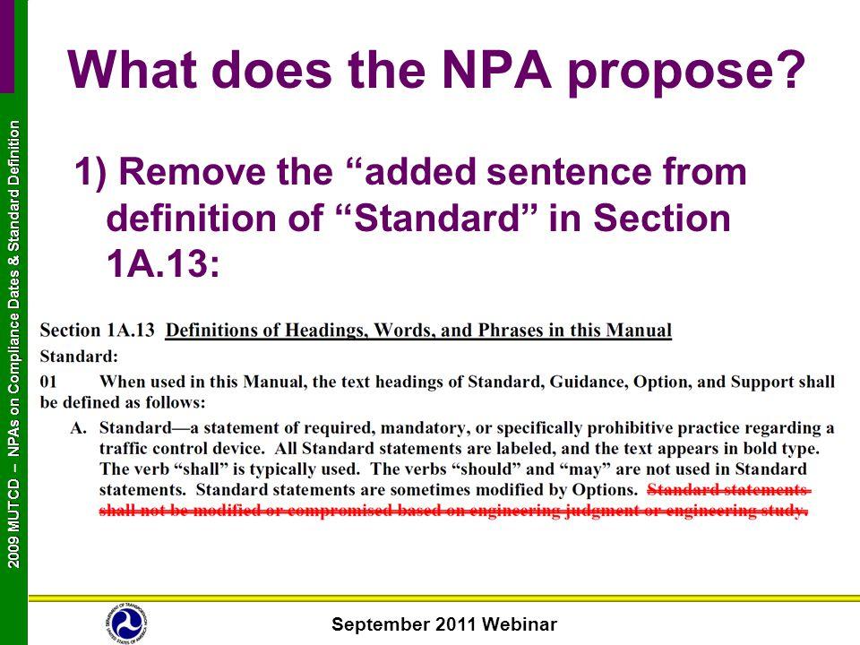 September 2011 Webinar 2009 MUTCD NPAs on Compliance Dates & Standard Definition 2009 MUTCD – NPAs on Compliance Dates & Standard Definition What does