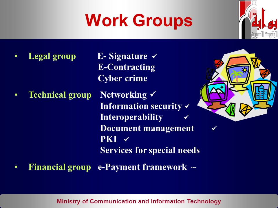 Ministry of Communication and Information Technology Legal group E- Signature E-Contracting Cyber crime Technical group Networking Information securit