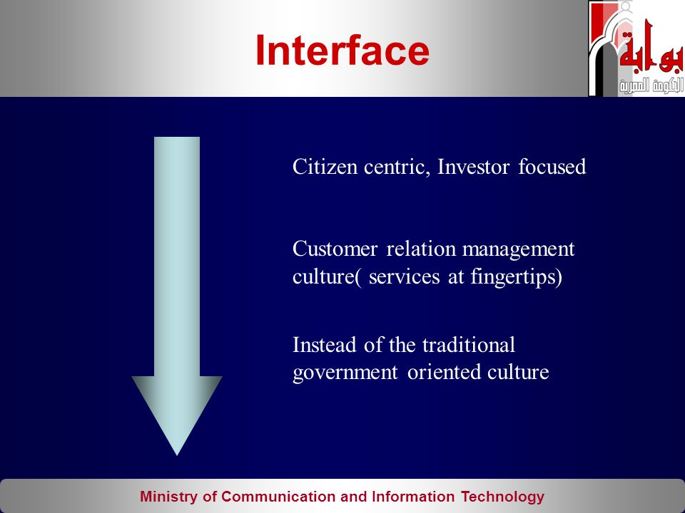 Ministry of Communication and Information Technology Citizen centric, Investor focused Customer relation management culture( services at fingertips) I