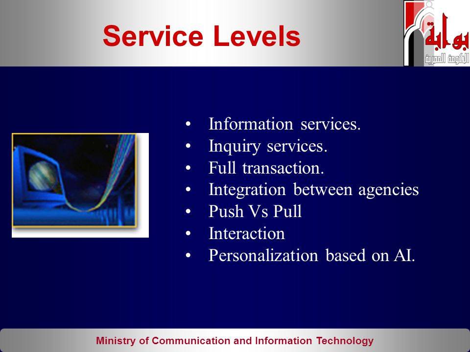 Ministry of Communication and Information Technology Information services. Inquiry services. Full transaction. Integration between agencies Push Vs Pu