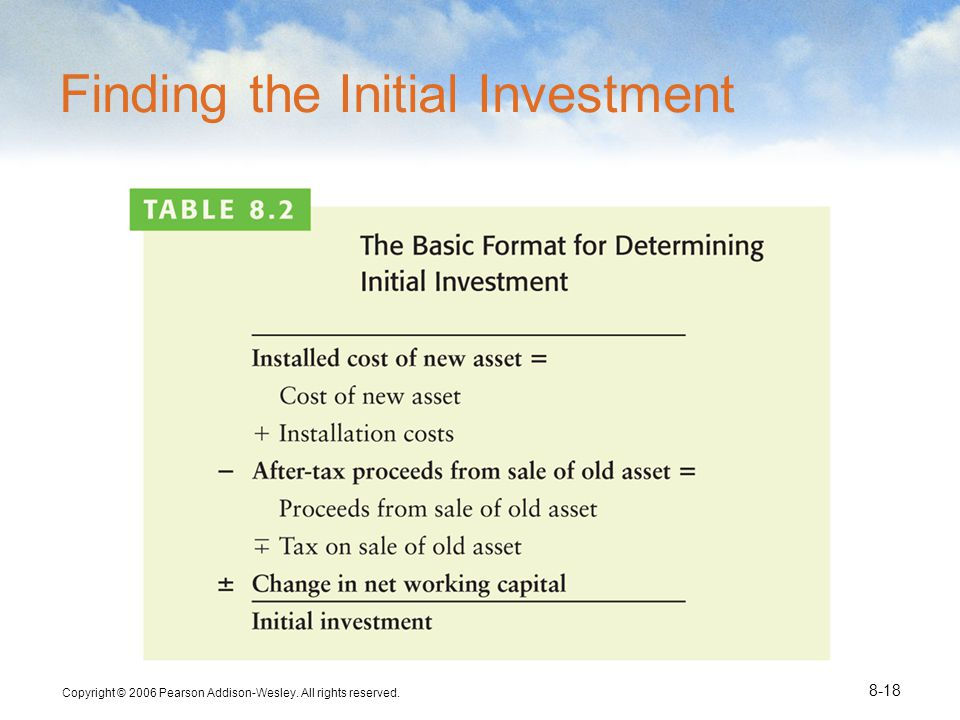 Copyright © 2006 Pearson Addison-Wesley. All rights reserved. 8-18 Finding the Initial Investment