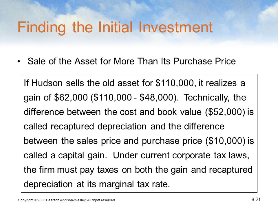 Copyright © 2006 Pearson Addison-Wesley. All rights reserved. 8-21 If Hudson sells the old asset for $110,000, it realizes a gain of $62,000 ($110,000