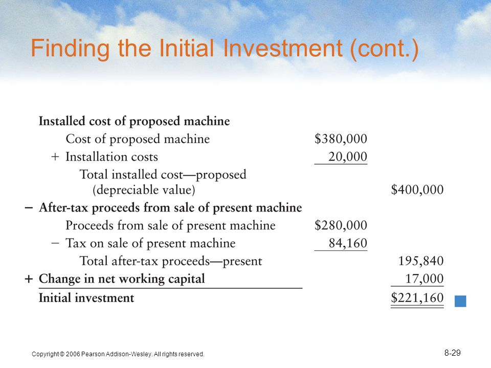 Copyright © 2006 Pearson Addison-Wesley. All rights reserved. 8-29 Finding the Initial Investment (cont.)