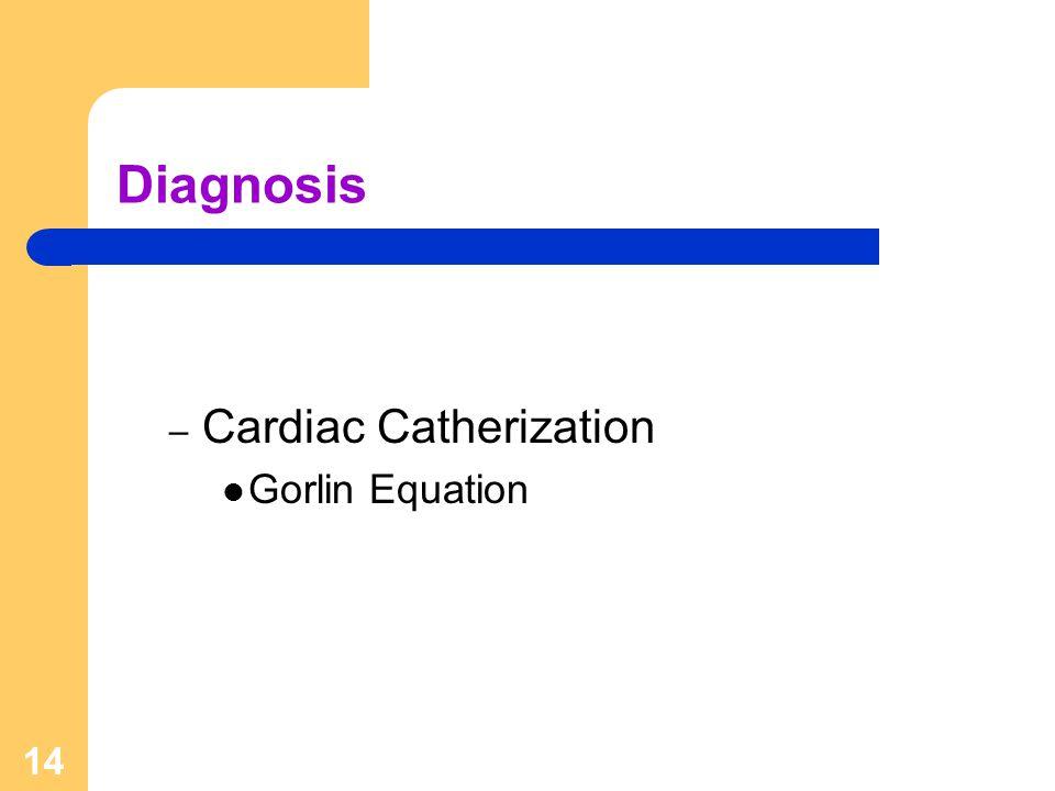 14 Diagnosis – Cardiac Catherization Gorlin Equation