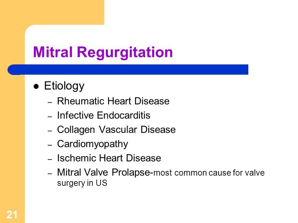 21 Mitral Regurgitation Etiology – Rheumatic Heart Disease – Infective Endocarditis – Collagen Vascular Disease – Cardiomyopathy – Ischemic Heart Dise