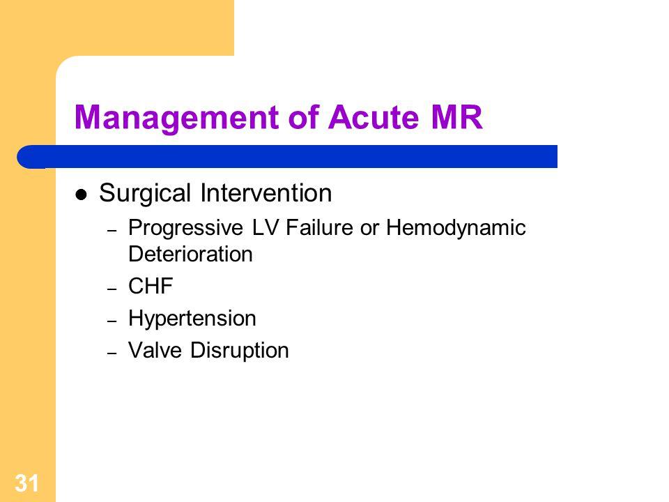 31 Management of Acute MR Surgical Intervention – Progressive LV Failure or Hemodynamic Deterioration – CHF – Hypertension – Valve Disruption