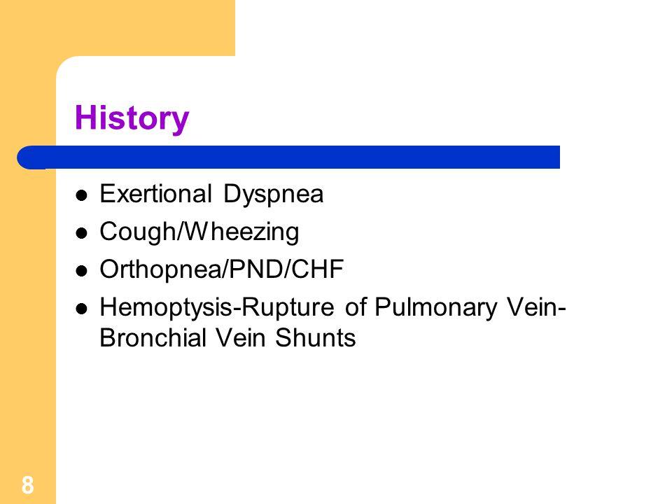8 History Exertional Dyspnea Cough/Wheezing Orthopnea/PND/CHF Hemoptysis-Rupture of Pulmonary Vein- Bronchial Vein Shunts