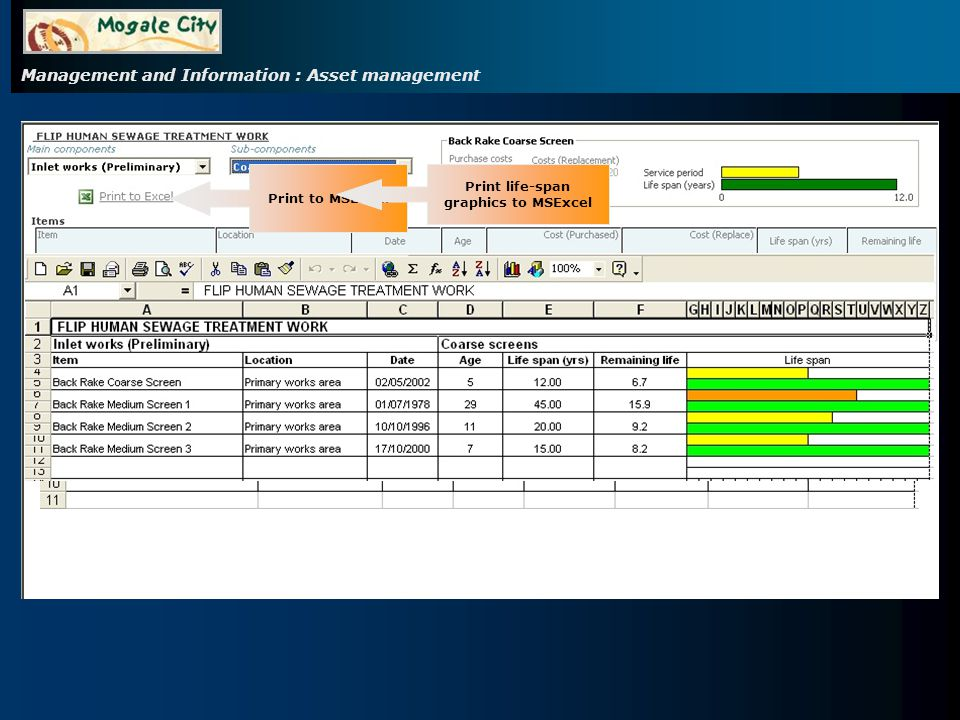 Management and Information : Asset management Print to MSExcel Print life-span graphics to MSExcel