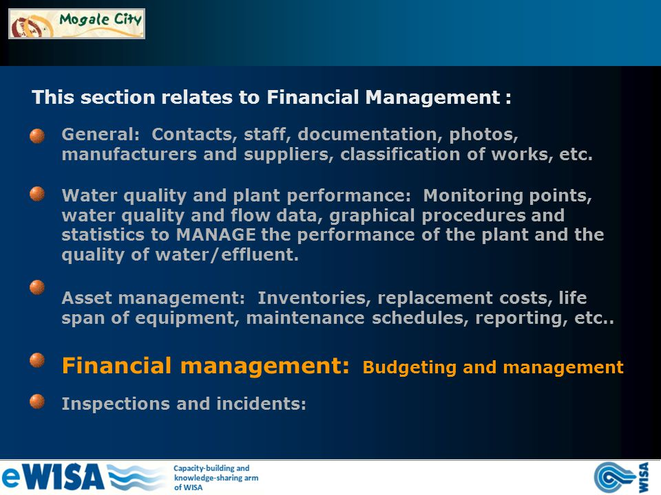 This section relates to Financial Management : Financial management: Budgeting and management General: Contacts, staff, documentation, photos, manufacturers and suppliers, classification of works, etc.