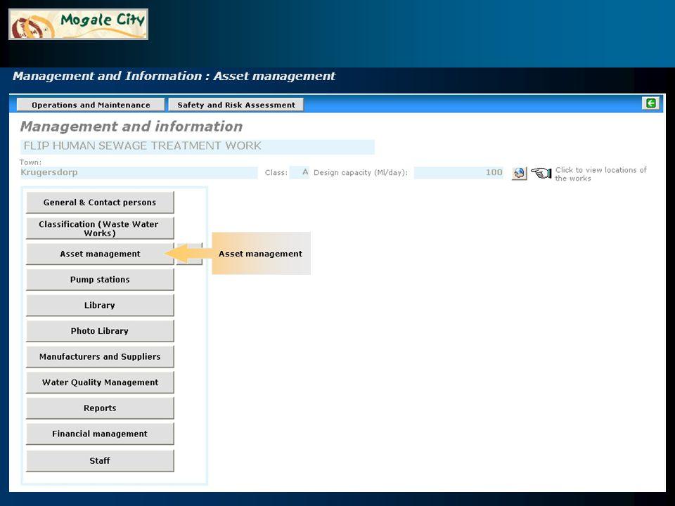 Management and Information : Asset management Setup functions Inventory Documentation (Information) on asset management (your own library) Inventory items