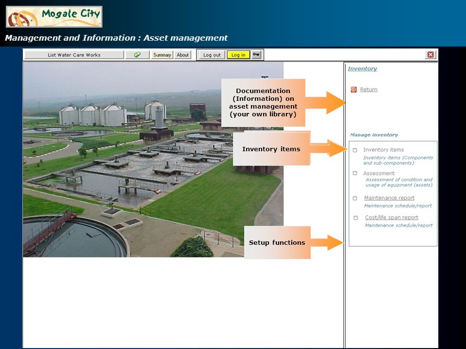 Management and Information : Asset management Click on item Double-click on item
