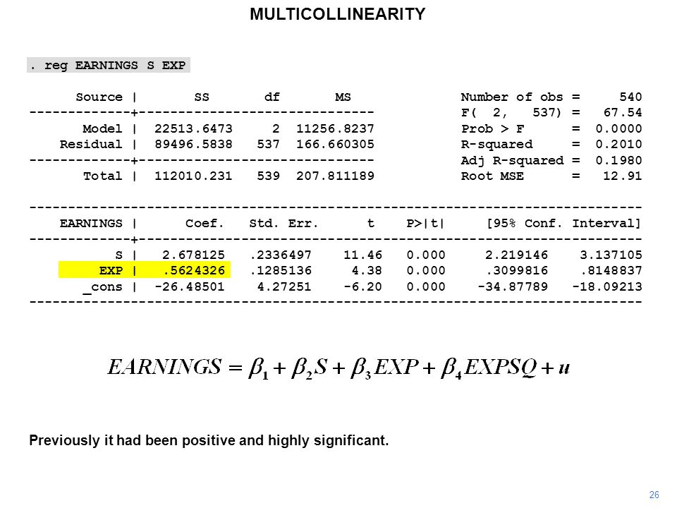 MULTICOLLINEARITY 26 Previously it had been positive and highly significant..