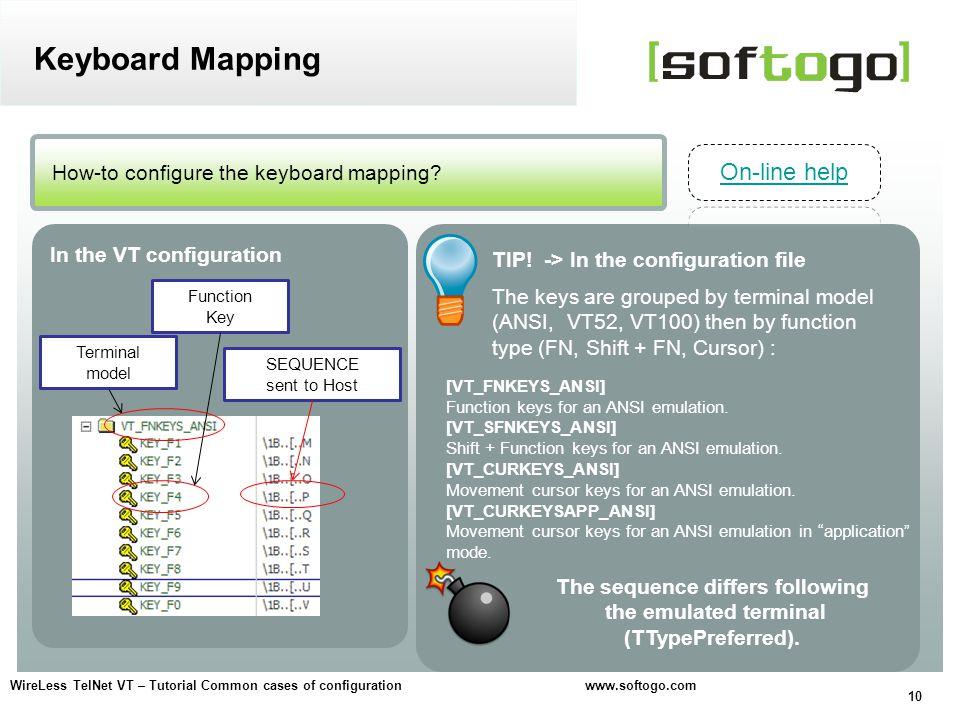 10 WireLess TelNet VT – Tutorial Common cases of configuration www.softogo.com How-to configure the keyboard mapping? Keyboard Mapping In the VT confi