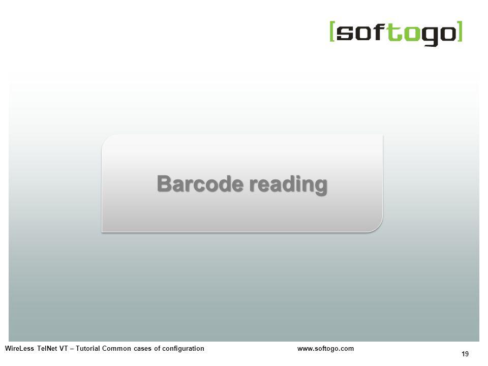 19 WireLess TelNet VT – Tutorial Common cases of configuration www.softogo.com Barcode reading