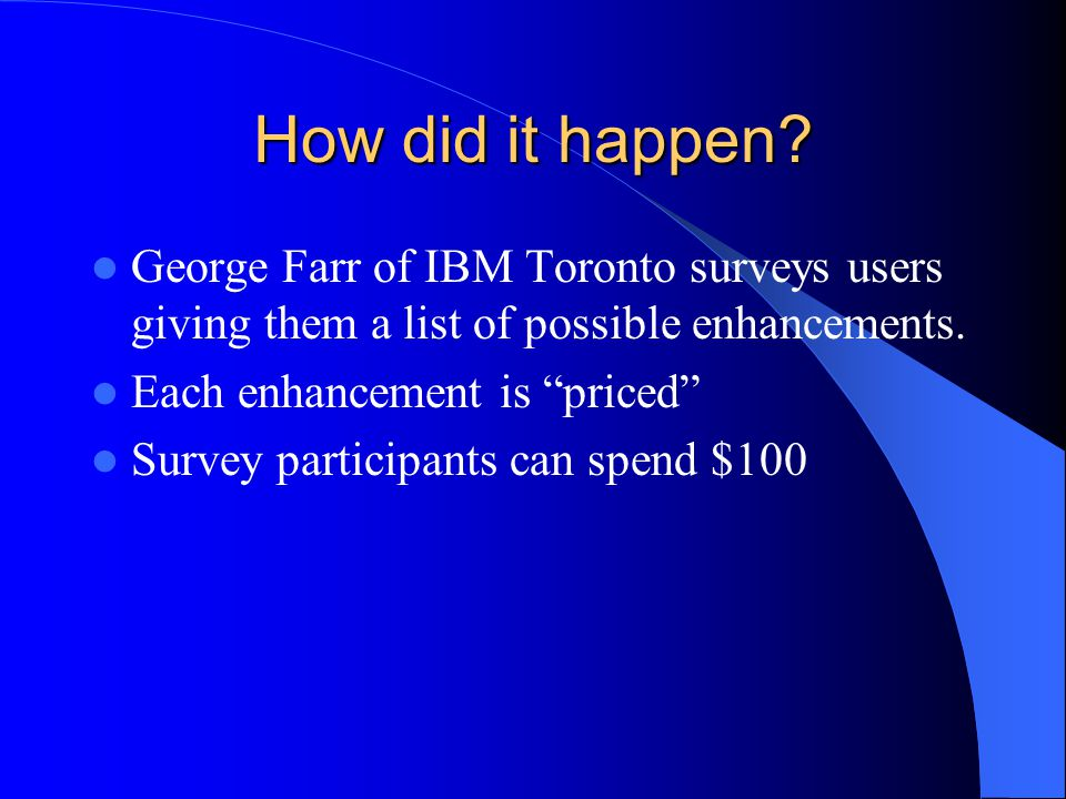 How did it happen? George Farr of IBM Toronto surveys users giving them a list of possible enhancements. Each enhancement is priced Survey participant