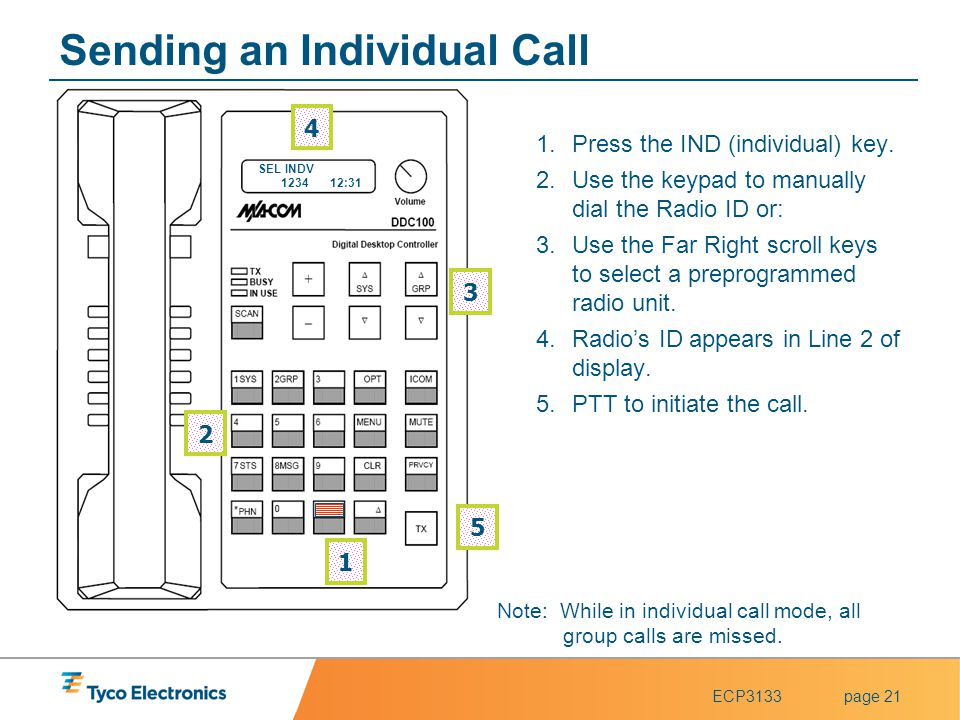 ECP3133page 21 Note: While in individual call mode, all group calls are missed. Sending an Individual Call 1.Press the IND (individual) key. 2.Use the