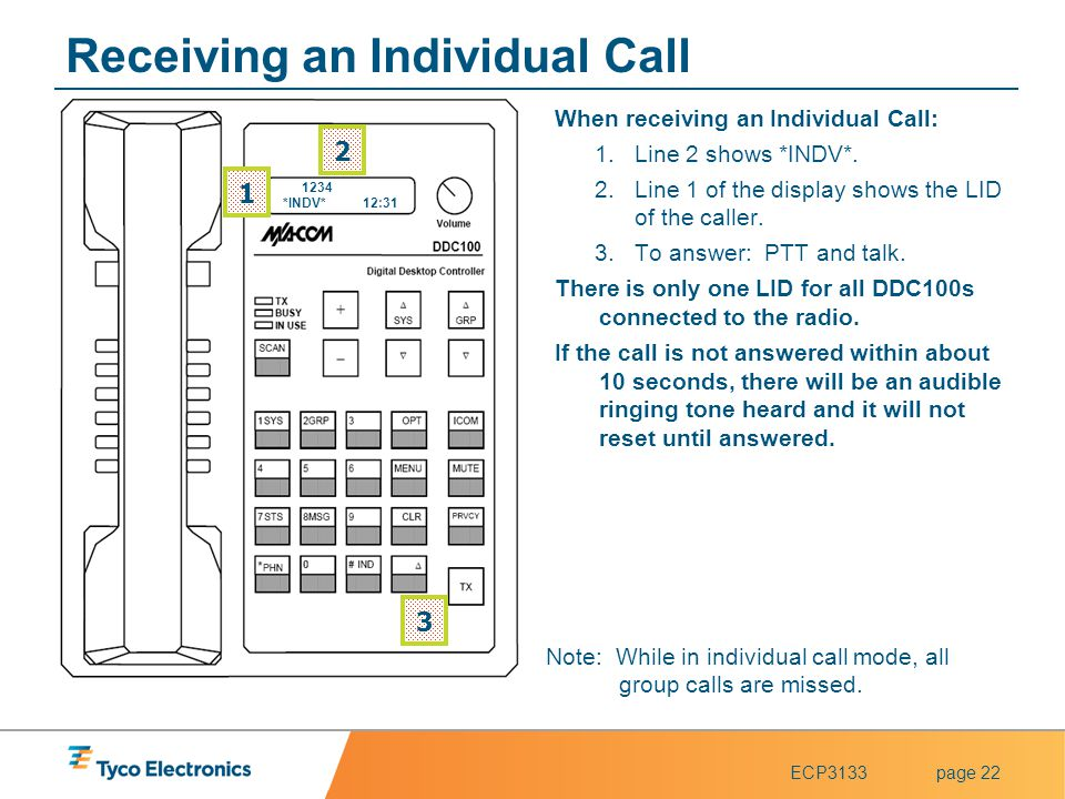 ECP3133page 22 Receiving an Individual Call When receiving an Individual Call: 1.Line 2 shows *INDV*. 2.Line 1 of the display shows the LID of the cal