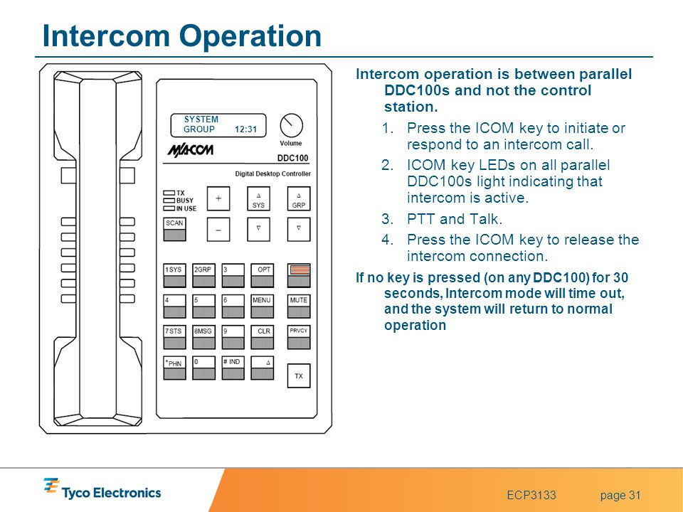 ECP3133page 31 Intercom Operation Intercom operation is between parallel DDC100s and not the control station. 1.Press the ICOM key to initiate or resp