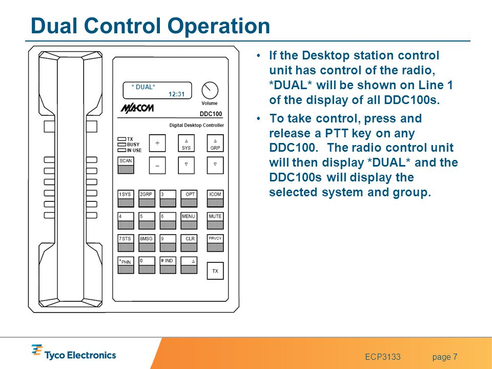 ECP3133page 7 Dual Control Operation If the Desktop station control unit has control of the radio, *DUAL* will be shown on Line 1 of the display of al