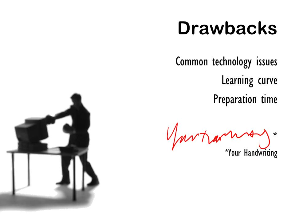 Drawbacks Common technology issues Learning curve Preparation time * *Your Handwriting