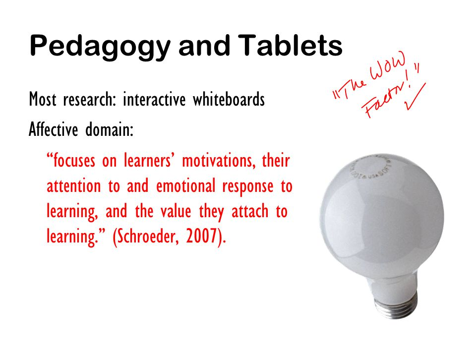 Pedagogy and Tablets Most research: interactive whiteboards Affective domain: focuses on learners motivations, their attention to and emotional response to learning, and the value they attach to learning.