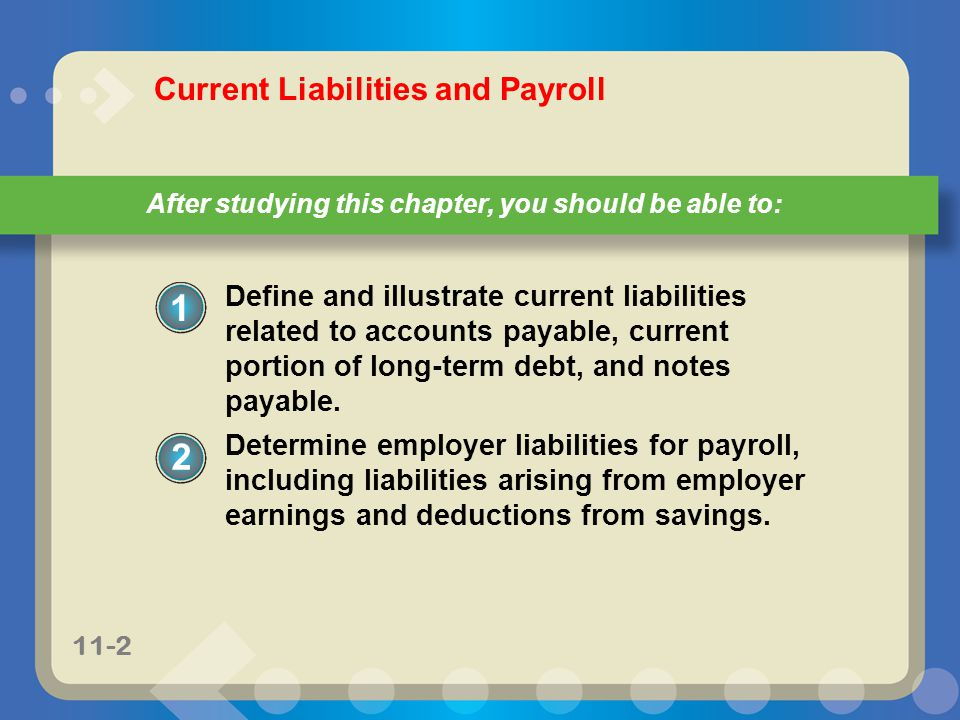 11-33 Example Exercise 11-2 (continued) 2 11-33 For Practice: PE 11-2A, PE 11-2B Total wage payment$2,250 One allowance (provided by IRS)$67 Multiplied by allowances claimed on W-4× 2 134 Amount subject to withholding$2,116 Initial withholding from wage bracket in Exh.