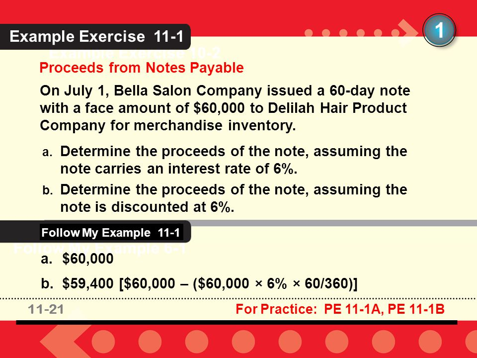 11-21 Example Exercise 10-2 Proceeds from Notes Payable 1 On July 1, Bella Salon Company issued a 60-day note with a face amount of $60,000 to Delilah