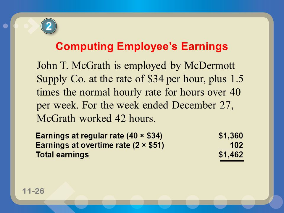 11-26 John T. McGrath is employed by McDermott Supply Co. at the rate of $34 per hour, plus 1.5 times the normal hourly rate for hours over 40 per wee