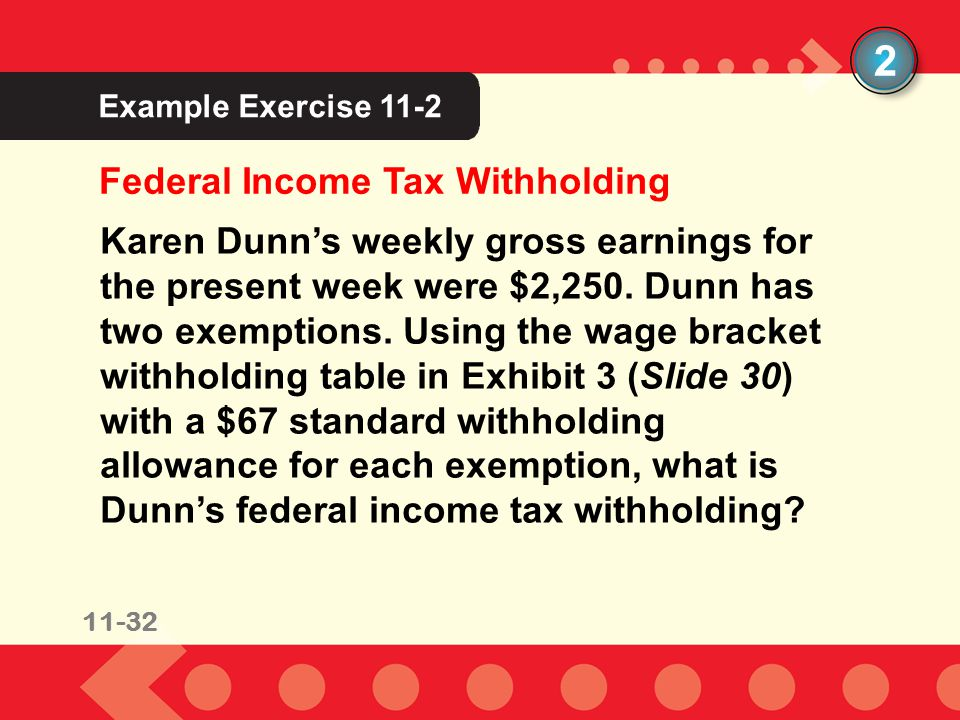 11-32 Example Exercise 11-2 2 Karen Dunns weekly gross earnings for the present week were $2,250. Dunn has two exemptions. Using the wage bracket with