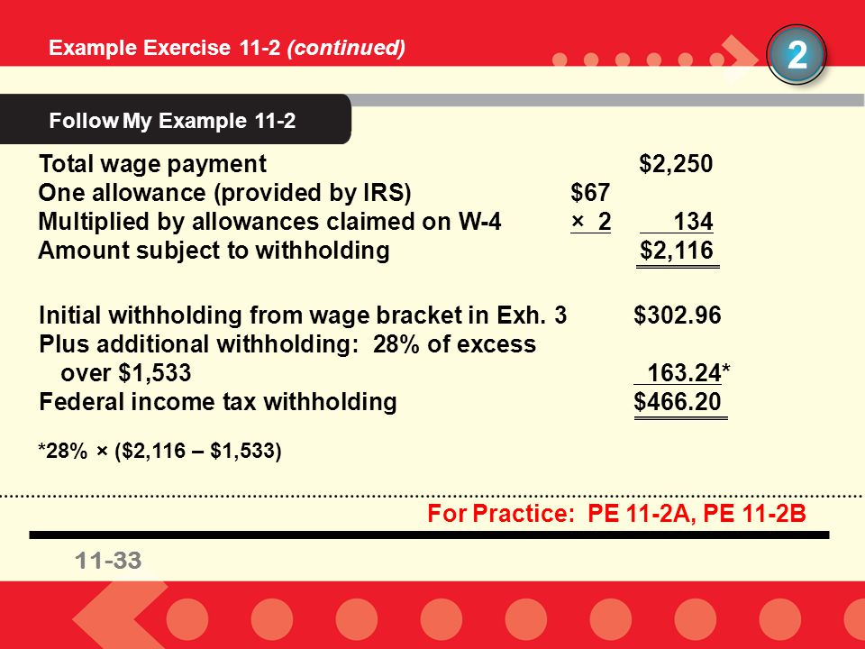 11-33 Example Exercise 11-2 (continued) 2 11-33 For Practice: PE 11-2A, PE 11-2B Total wage payment$2,250 One allowance (provided by IRS)$67 Multiplie