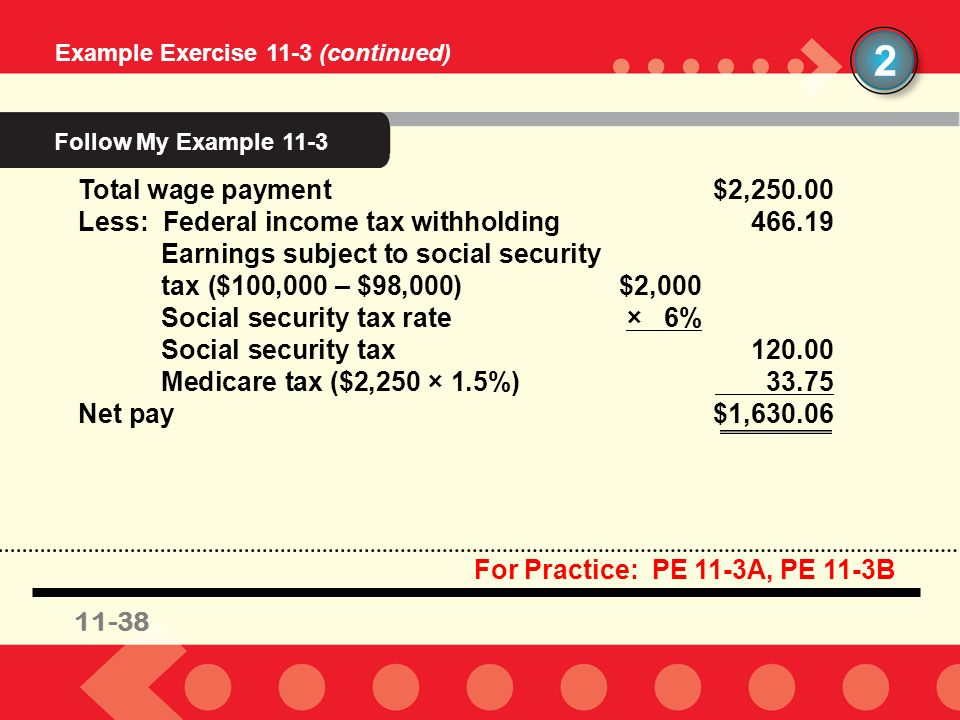 11-38 Example Exercise 11-3 (continued) 2 Total wage payment$2,250.00 Less: Federal income tax withholding466.19 Earnings subject to social security t